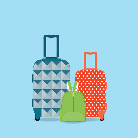 group travel: Group of Baggage, Travel bag, backpack and suitcase isolated on white background, Flat style vector illustration.