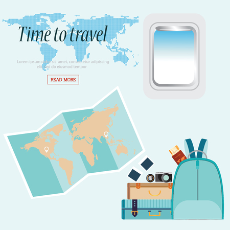airplane window: Time to Travel conceptual with airplane window and baggage, world map, Business Trip vector illustration design. Illustration