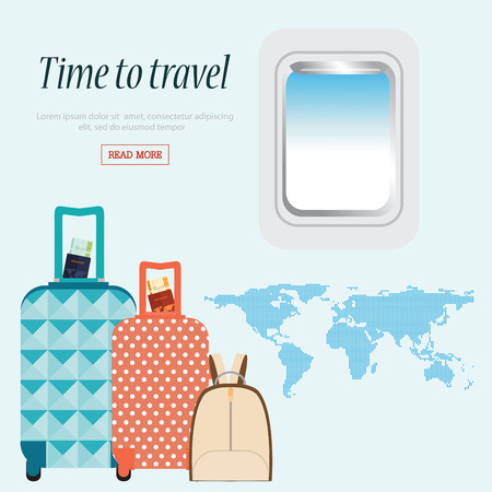 airplane window: Time to Travel conceptual with airplane window and baggage, world map,Business Trip vector illustration design. Illustration