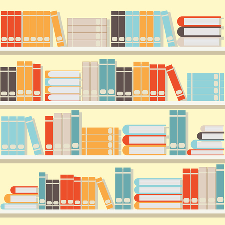 magazine stack: Colorful book on shelves,library or book store flat design illustration.