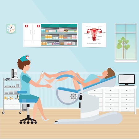 Doctor checking patient on Gynecological chair in gynecological room, health care and medical conceptual vector illustration.