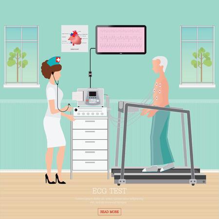 ECG-Test of Oefening Stresstest voor Hartkwaal op tredmolen, het binnenland van de het centrumruimte van de cardiologie met bloeddrukmonitor, gezonde en medische vlakke ontwerpillustratie. Stock Illustratie