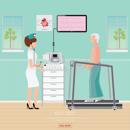 blood pressure monitor: ECG Test or Exercise Stress Test for Heart Disease on treadmill, cardiology center room interior with blood pressure monitor, healthy and medical flat design illustration.