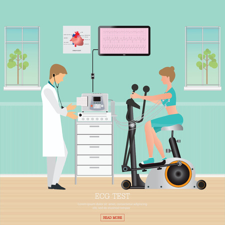 blood pressure monitor: ECG Test or Exercise Test for Heart Disease on Exercise Bikes, cardiology center room interior with blood pressure monitor, healthy and medical flat design illustration. Illustration