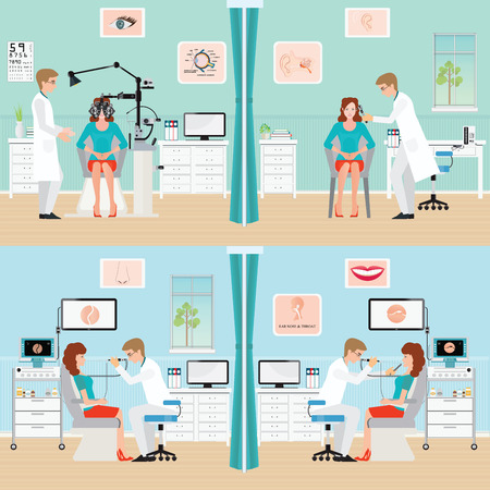 medical testing: Doctor examining Patient with endoscope and  Phoropter, ophthalmic testing device machine, Ear nose and throat clinic,office interior medical health care conceptual illustration.