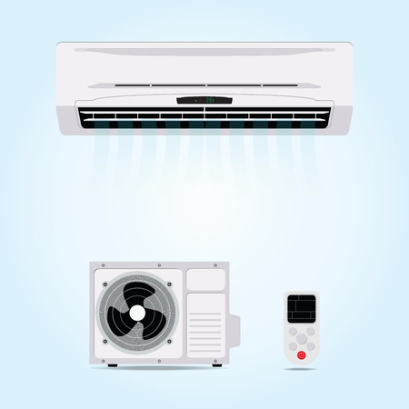 acclimatization: Air conditioner hanging on wall with blowing air and remote control,electricity flat design illustration.