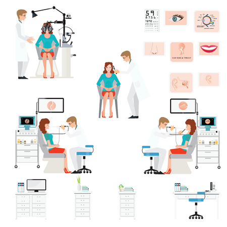 Doctor examining Patient with endoscope and  Phoropter isolated on white, ophthalmic testing device machine, Ear nose and throat clinic,office interior medical health care conceptual illustration.