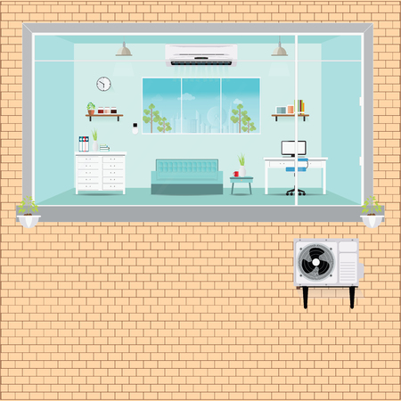 refrigerant: Living room with air conditioning, outside block of air conditioner installation, Air conditioning services flat design illustration. Illustration