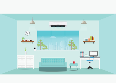 home office interior: Modern home office interior, Workplace concept flat illustration.