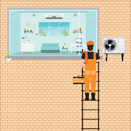 acclimatization: Worker Man climbing ladder to repair air conditioner system on brick wall, Air conditioning services flat design illustration.