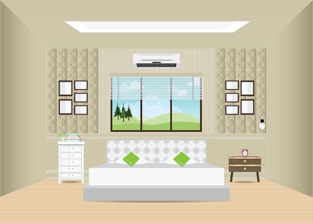 double bed: Bedroom with double bed and furniture, Bedroom interior design, conceptual illustration.