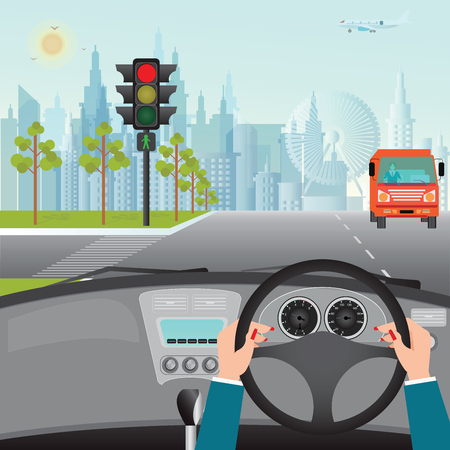 Human hands driving a car on asphalt road and waiting for the traffic light, car interior, flat design illustration.