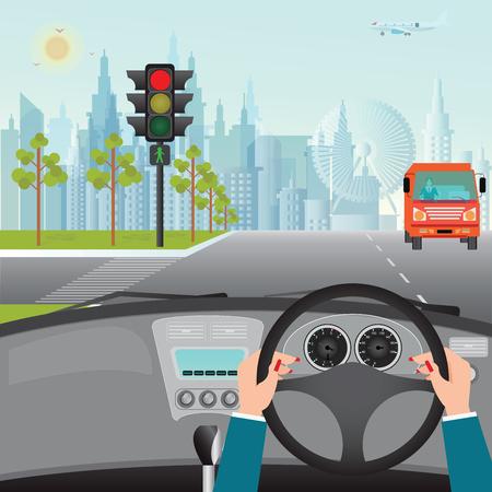 Human hands driving a car on asphalt road and waiting for the traffic light, car interior, flat design illustration.