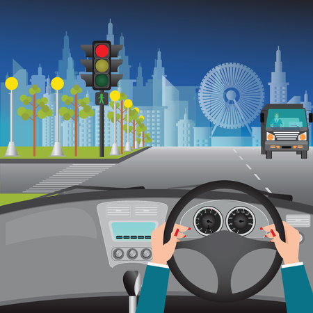 road traffic: Human hands driving a car on asphalt road and waiting for the traffic light on city view night scene , car interior, flat design illustration.