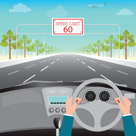 Human hands driving a car on asphalt road with speed limit on highway, car interior, flat design illustration. Иллюстрация