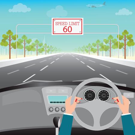 Las manos humanas que conducen un coche en la carretera de asfalto con límite de velocidad en la carretera, interior del coche, ilustración diseño plano.