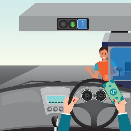 Human hands driving a car and showing car paying to access Highway toll , car interior, flat design illustration.