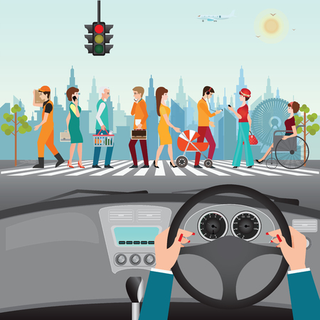 Human hands driving a car on asphalt road with people walking on the crosswalk, car interior, flat design illustration.