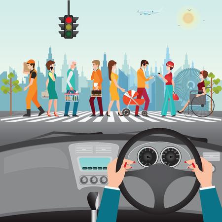 Ludzkie ręce prowadzące samochód na asfaltowej drodze z ludźmi chodzącymi na przejściu dla pieszych, wnętrze samochodu, płaska konstrukcja ilustracja. Ilustracje wektorowe