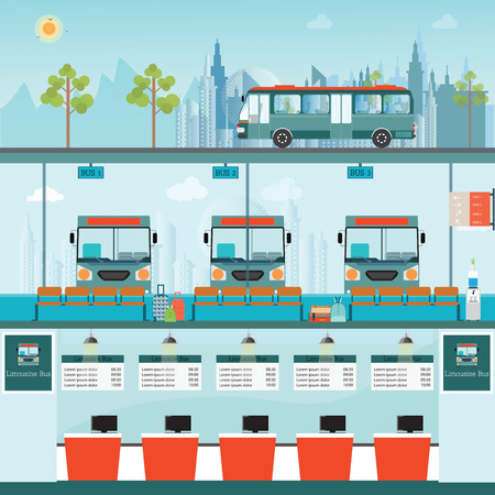 counter service: Bus terminal with bus limousine with counter service and waiting for bus, business travel , transportation illustration.