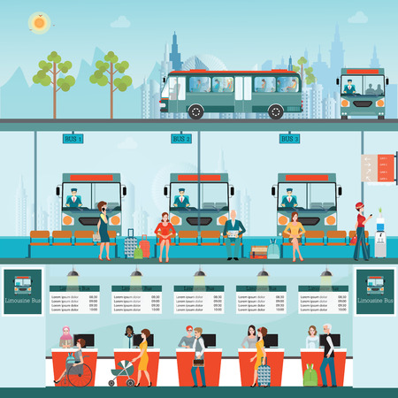 counter service: Set of bus limousine with people buying ticket at counter service and waiting for bus at bus terminal, business travel , transportation vector illustration. Illustration