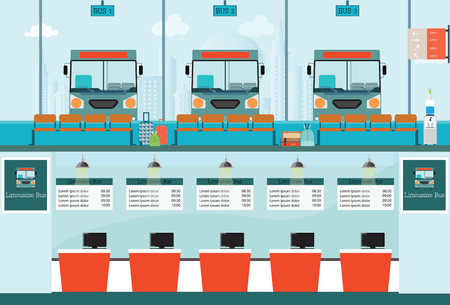 counter service: Bus terminal with bus limousine with counter service for bus ticket, business travel , transportation vector illustration. Illustration