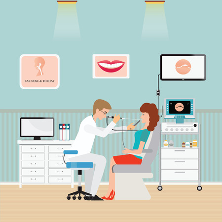 otolaryngologist: Medical parapsychologist ear nose throat doctor for sore throat, office interior medical health care flat design illustration.