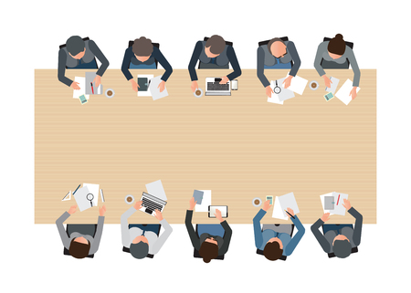 Bovenaanzicht van Zakelijke bijeenkomst, teamwork, brainstormen, kantoor mensen uit het bedrijfsleven cartoon plat design conceptuele illustratie.