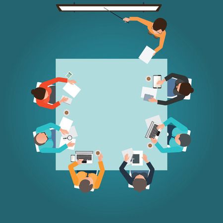 Top view of Business presentation, teamwork, brainstorming, office business people cartoon flat design conceptual illustration. Çizim