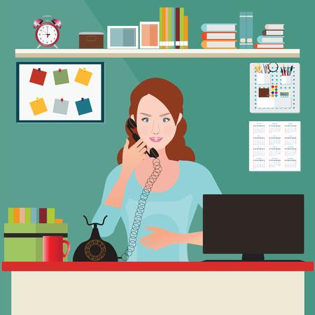 ビジネスの女性は、オフィス インテリア事務室、事務机、概念図で電話で話しています。  イラスト・ベクター素材
