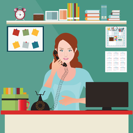 Business woman talking on the phone in office, Interior office room, office desk, conceptual illustration.
