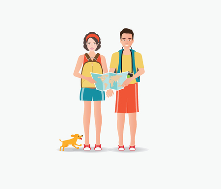 Couple travelers caring map with dog isolated on white , tourists couple ready to trip. on summer holidays trip, character flat design illustration.