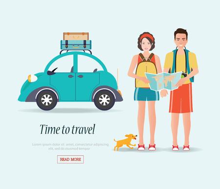los viajeros que cuidan par de mapa con las maletas en un portaequipajes, turistas par listo para su viaje. en vacaciones de verano viaje, personaje plano ilustración de diseño.
