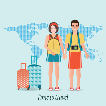 Couple travelers with luggage on world map background. tourists couple ready to trip. on summer holidays trip, character flat design illustration.