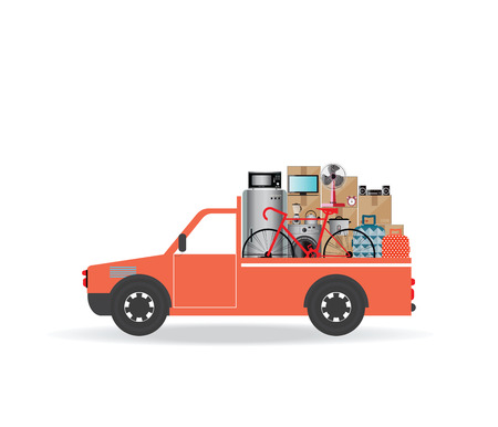 House Moving services transportation and logistic flat design illustration.