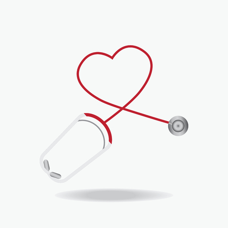 red stethoscope: Red Stethoscope in Shape of Heart Isolated On White Background, Healthcare concept flat design style illustration.