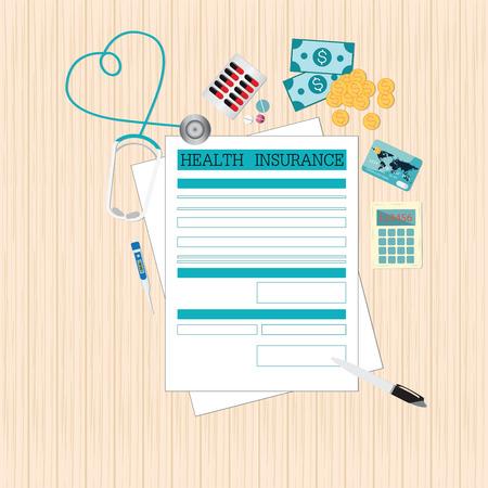 Vista superior de planificación de la forma del seguro de salud Vida, formulario de Solicitud de documentación y equipos médicos, el dinero, el concepto de Salud diseño plano ilustración vectorial estilo.
