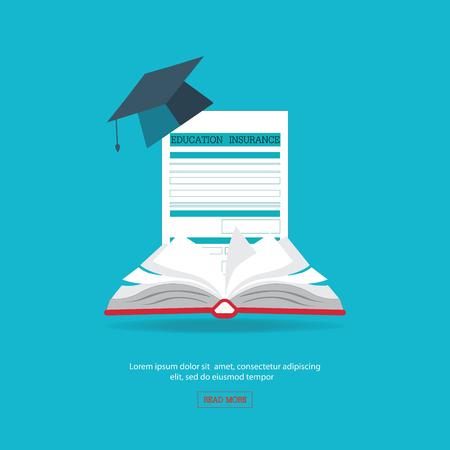 ensure: Ensure protection insurance risk education, flat design education conceptual illustration. Illustration