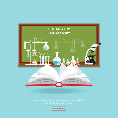 lesson: Chemical laboratory Science lesson with open book and microscope technology,Science, education, chemistry, experiment, laboratory conceptual flat design illustration.