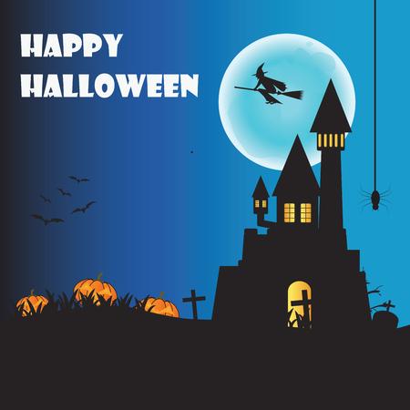 necropolis: Happy Halloween night with pumpkins and hanging spider on orange background, flat design illustration.