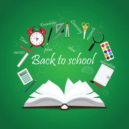 note booklet: Open Book with back to school creative design, education conceptual, Modern template Design illustration. Illustration