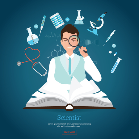 Profession scientist holding magnifying with open book and Medical equipment, character flat banners conceptual flat design illustration. Illustration