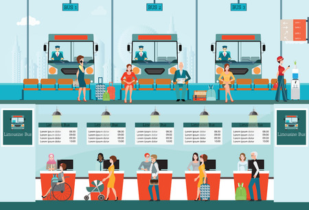counter service: Bus terminal with bus limousine with people buying ticket at counter service and waiting for bus, business travel , transportation illustration. Illustration