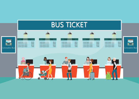 counter service: Bus terminal with people buying ticket at counter service, business travel , transportation flat design illustration. Illustration