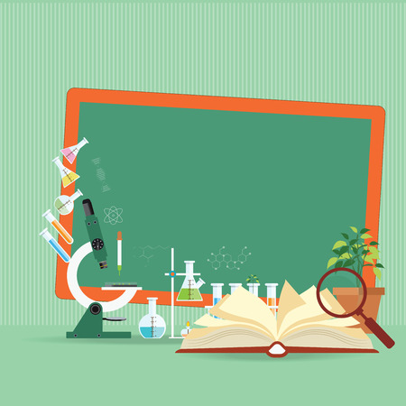 Chemical laboratory Science lesson with open book and microscope technology,Science, education, chemistry, experiment, laboratory conceptual flat design illustration.