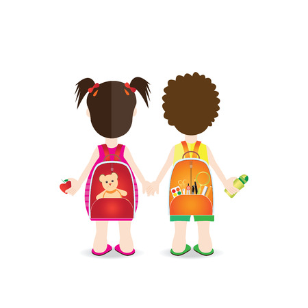 Backs of school kids with colorful rucksacks isolated on white background, character flat design illustration.
