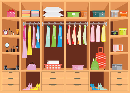 Flat Design walk in closet with shelves for accessories and cosmetic make up, interior design, Clothing store, Boutique indoor of woman's cloths, conceptual illustration. Vectores