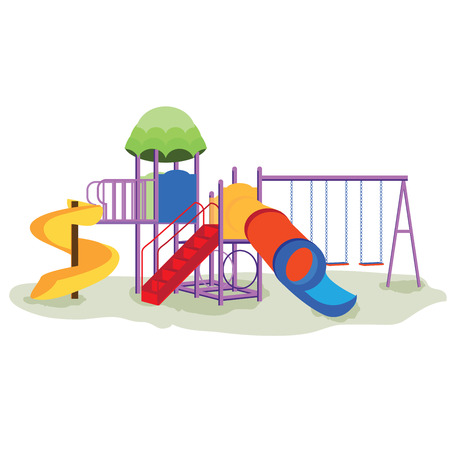 kids playground: Kids playground equipment with swings, slides and tube isolated on white, school background, Modern flat style illustration cartoon clip art.