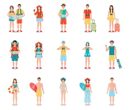 turista: Le persone che viaggiano isolato su bianco, i turisti coppia pronta per inciampare su vacanze estive viaggio, piatta illustrazione character design.
