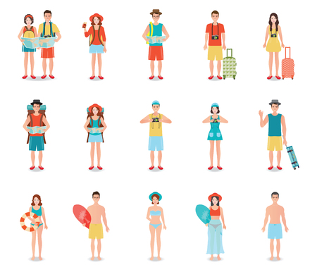 sports day: People traveling isolated on white, tourists couple ready to trip on summer holidays trip, character flat design illustration.